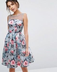 Атласное платье-миди с цветочным принтом Chi Chi London - Мульти