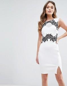 Платье-футляр с цветочной отделкой Lipsy - Белый