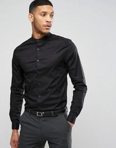 Черная рубашка скинни на пуговицах с длинными рукавами ASOS - Черный