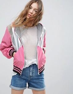 Куртка-дождевик в стиле колор блок со вставками в рубчик цвета металлик ASOS - Мульти