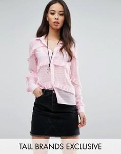 Блузка в клетку с оборками Glamorous Tall - Розовый