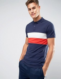 Tommy Hilfiger Denim Pique Polo Chest Stripe Regular Fit in Navy - Темно-синий