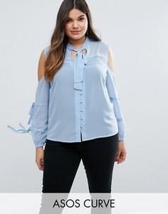 Блузка с бантом и вырезами на плечах ASOS CURVE - Синий