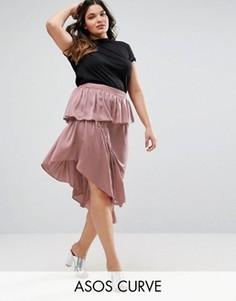 Атласная юбка миди ASOS CURVE - Розовый