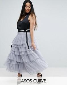 Ярусная юбка миди для выпускного из тюля с поясом ASOS CURVE - Серый