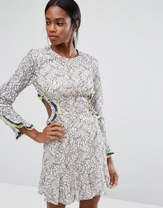 Кружевное платье с вырезами BCBG MAXAZRIA - Мульти