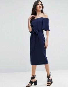 Платье миди с открытыми плечами и завязкой ASOS - Темно-синий