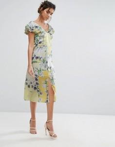 Платье миди с оборками и цветочным принтом Every Cloud - Мульти