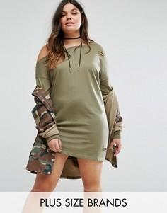Платье-футболка с рваной отделкой Missguided Plus - Зеленый