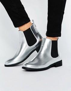Ботинки челси на плоской подошве с эффектом металлик Park Lane - Серебряный