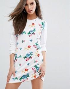 Платье-футболка с цветочной вышивкой Missguided - Белый