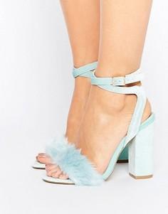 Голубые бархатные босоножки на каблуке с искусственным мехом Truffle Collection - Зеленый