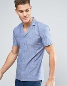 Темно-синяя рубашка с короткими рукавами и отложным воротником Minimum Luca - Темно-синий