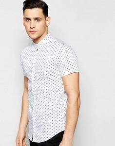 Рубашка слим с короткими рукавами и принтом сердце Vito - Белый
