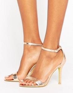 Золотистые сандалии на каблуке Glamorous - Золотой