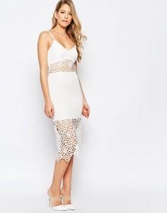 Платье миди с ажурными вставками Jarlo Harmony - Кремовый