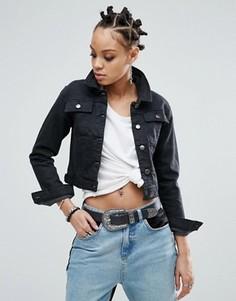 Выбеленная черная джинсовая куртка ASOS - Черный
