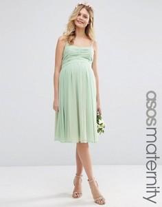 Присборенное платье миди с открытыми плечами ASOS Maternity WEDDING - Зеленый