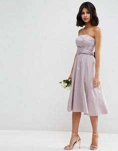 Структурированное платье миди с бантиком ASOS WEDDING - Фиолетовый
