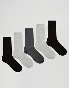 5 пар монохромных носков из вафельного трикотажа ASOS - СКИДКА - Мульти
