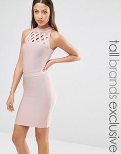 Бандажное платье с решеткой из лямок True Decadence Tall - Розовый