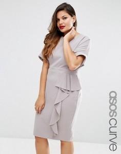 Платье-футляр с драпировкой спереди ASOS CURVE - Серый