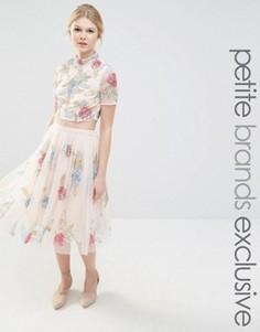 Пышная юбка для выпускного с розами Maya Petite - Розовый
