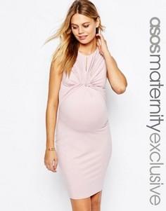 Облегающее платье для беременных с длинными рукавами ASOS Maternity - Розовый