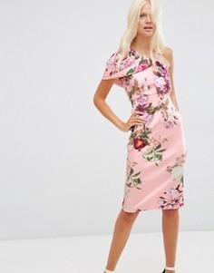 Платье миди с цветочным принтом ASOS - Оранжевый