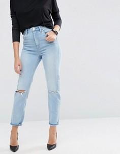 Узкие рваные джинсы в винтажном стиле с завышенной талией ASOS FARLEIGH - Синий