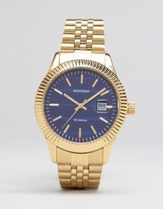 Золотистые наручные часы с синим циферблатом Sekonda эксклюзивно для ASOS - Золотой