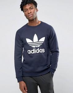 Свитшот с круглым вырезом и логотипом adidas Originals AY7793 - Синий