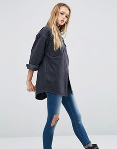 Черная джинсовая рубашка бойфренда ASOS - Черный