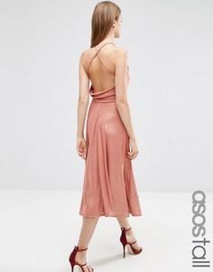Приталенное платье миди с эффектом металлик и лямками на спине ASOS TALL - Бежевый