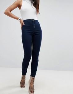 Эластичные джинсы скинни с завышенной талией Missguided Vice - Темно-синий