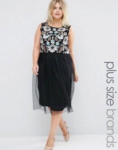Платье с отделкой на топе и тюлевой юбкой Praslin Plus - Черный
