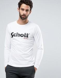 Лонгслив с крупным логотипом Schott - Белый