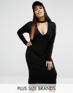 Облегающее платье миди с чокером Missguided Plus - Черный