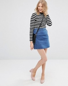 Синяя джинсовая юбка‑трапеция ASOS - Синий