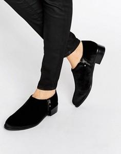 Бархатные туфли на плоской подошве с молниями Office Flex - Черный