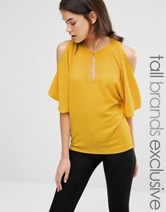 Струящаяся блузка с открытыми плечами Alter Tall - Желтый