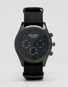 Черные часы с хронографом и парусиновым ремешком Reclaimed Vintage - Черный