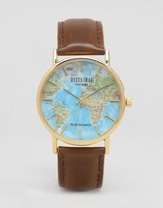 Классические часы с принтом карта мира Reclaimed Vintage - Коричневый
