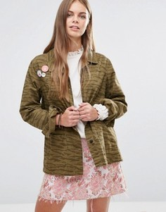 Куртка с нашивками Maison Scotch Peace - Зеленый