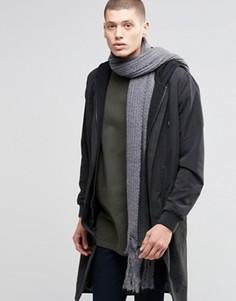 Узкий темно-серый шарф из оригинальной пряжи ASOS - Серый