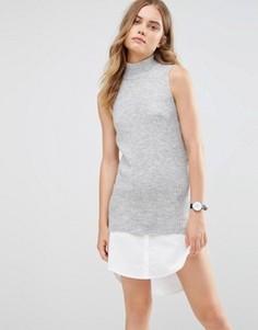 Трикотажное платье с высокой горловиной и рубашечной кромкой Noisy May - Серый