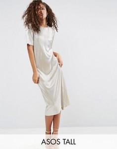 Золотистое платье-футболка миди ASOS TALL - Золотой