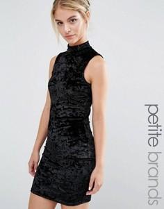 Бархатное облегающее платье с высокой горловиной Miss Selfridge Petite - Черный