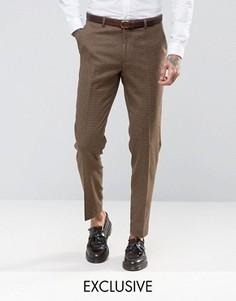Зауженные брюки из английской шерсти в ломаную клетку Heart and Dagger - Коричневый