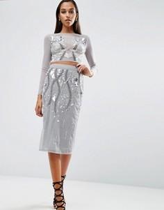 Декорированная юбка-карандаш ASOS NIGHT Co-ord - Серый